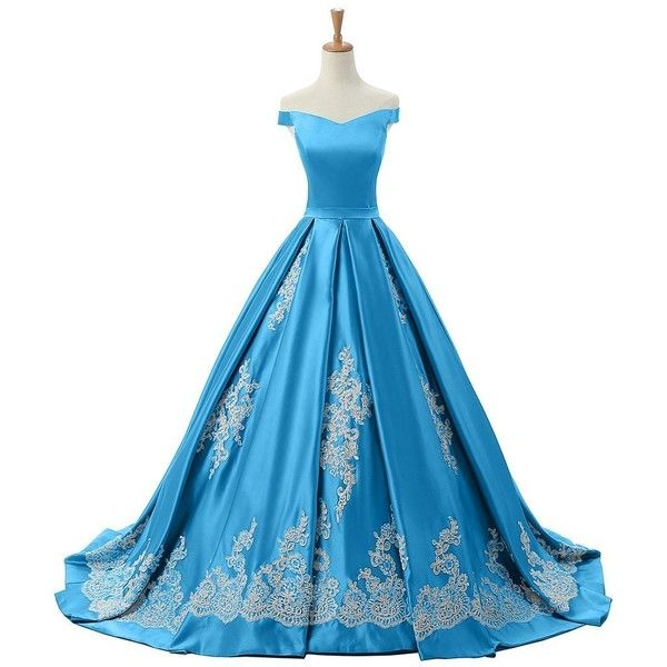 Sunvary 2016 Cap Sleeves Ball Gown Appliques Quinceanera Prom Dresses... ($220) ❤ liked on Polyvore featuring dresses, gowns, cap sleeve evening dress, applique gown, blue dress, blue quinceanera dresses and reception gowns