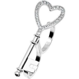 Size 8-9 Silver Tone Crystalline Heart Shaped Skeleton Key Double Finger Ring Body Candy. $9.99. 2 Finger Ring