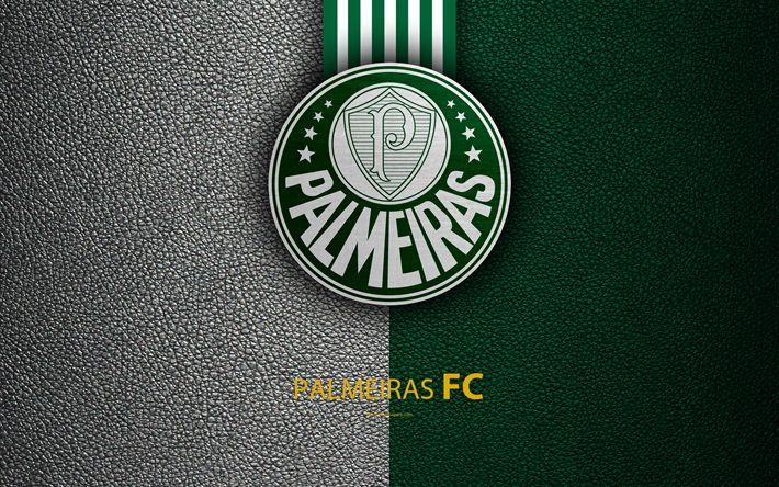 Download wallpapers Palmeiras FC, 4K, Brazilian football club, Brazilian Serie A, leather texture, emblem, Palmeiras logo, Sao Paulo, Brazil, football