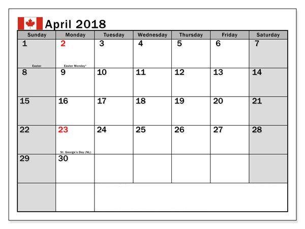 April 2018 Canada Holidays Calendar