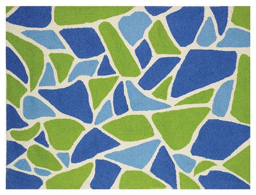 sea glass hooked rug