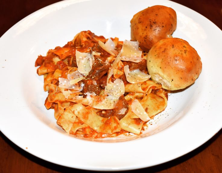 Pulled Beef Ragu, Homemade Pappardelle, Garlic Doughballs