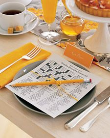 This would be a great idea at a college/area event..make special theme designed crossword puzzle and have tables work together to figure out...Awesome place setting..love the colors too!
