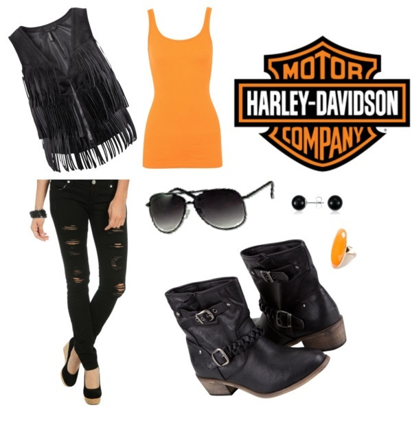 harley girl, created by janessagreen on Polyvore... not a fan of the vest but loving everything else :)