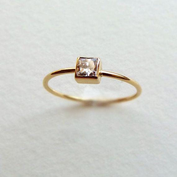 Princesse diamant bague de fiançailles - bague or - or massif 18 carats de diamants