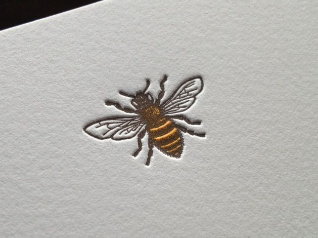 Pretty Honey Bee letterpress stationery by Meticulous Ink buzzzzzzzzzzz