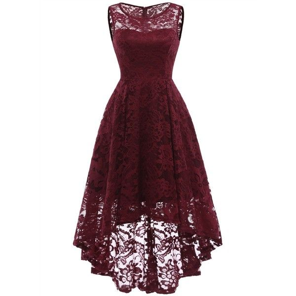 MUADRESS Women's Vintage Floral Lace Sleeveless Hi-Lo Cocktail Formal... ($27) ❤ liked on Polyvore featuring dresses, holiday cocktail dresses, vintage swing dress, evening cocktail dresses, vintage formal dresses and high low formal dresses