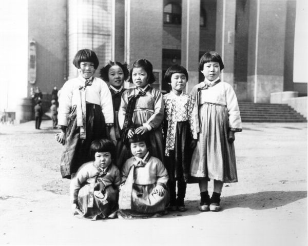 Girls in hanbok. Korean New Year's Day celebration at Taegu, Korea. 1952-01-29
