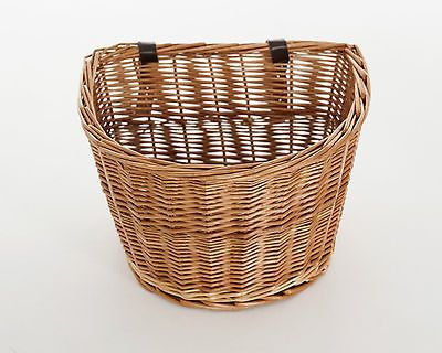 RETRO WICKER BICYCLE BASKET WITH LEATHER STRAPS BIKE / CYCLE SHOPPING in Sporting Goods, Cycling, Bike Accessories | eBay
