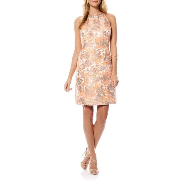 Laundry By Shelli Segal Floral Brocade Racerback Dress ($45) ❤ liked on Polyvore featuring dresses, calypso coral, racer back dress, sleeveless dress, floral dresses, laundry by shelli segal dress and jewel neckline dress