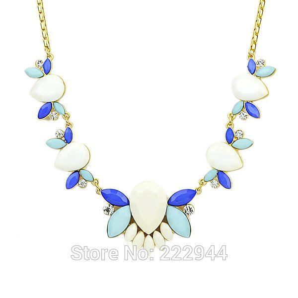 Индийские украшения красочный имитация драгоценных камней золотого цвета цепи готический ювелирные изделия ожерелье для женщинкупить в магазине Niceshow  JewelryнаAliExpress