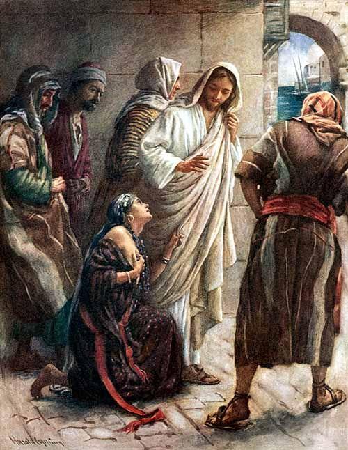 Mateo 9:20-22 Y he aquí una mujer enferma de flujo de sangre desde hacía doce años, se le acercó por detrás y tocó el borde de su manto; porque decía dentro de sí: Si tocare solamente su manto, seré salva. Pero Jesús, volviéndose y mirándola, dijo: Ten ánimo, hija; tu fe te ha salvado. Y la mujer fue salva desde aquella hora.♔