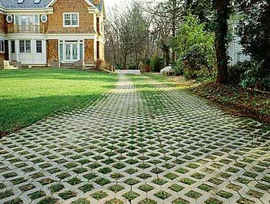 "GrassPavers for driveways & patios allow a drive or parking pad to double as a courtyard/patio and extend the home's living space into the garden. Grass pavers are a great solution in a situations where large amounts of pavement are necessary but not really desirable. They are also a great ""green"" solution, as they permit rainwater to soak into the ground rather than runoff."