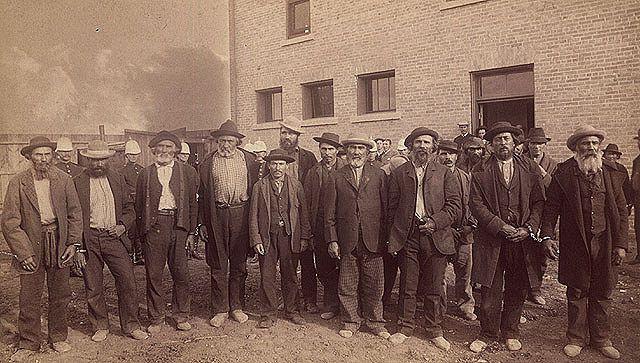 Group photograph of Métis and Native prisoners from the North-West Rebellion. / Photographie d'un groupe de prisonniers métis et autochtones de la rébellion du Nord-Ouest. | by BiblioArchives / LibraryArchives