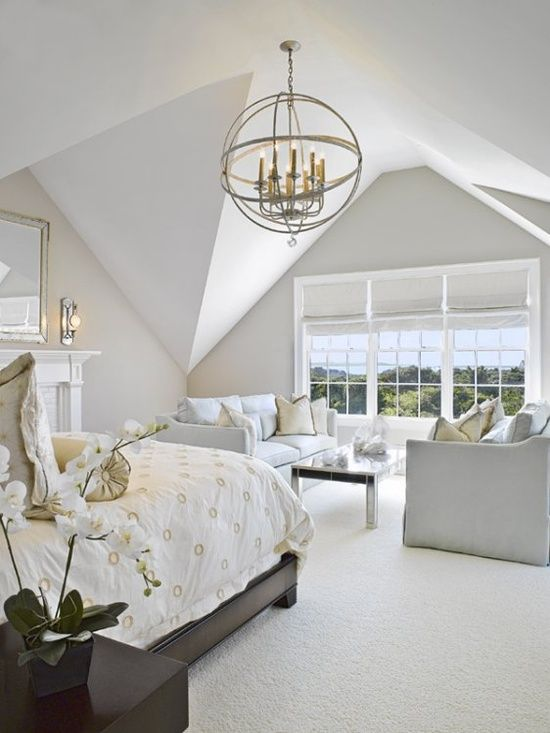 White Master Bedroom Light Fixture Ceiling Angles Bed And Fireplace