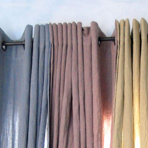 Rideau à oeillets en lin Sabbia Charvet (naturel ou brume rosée)