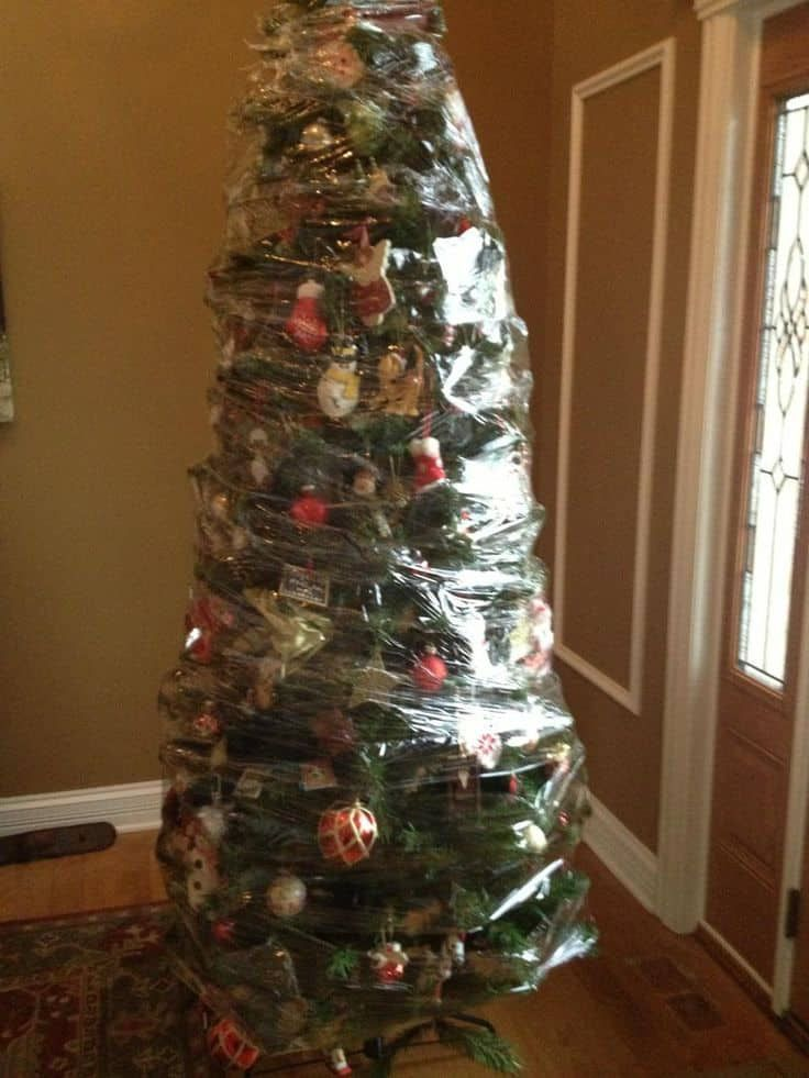 After Christmas Wrap Your Entire Tree With Saran Wrap For Easy Storage Christmas Tree Storage Eclectic Christmas Trees Farmhouse Christmas Tree