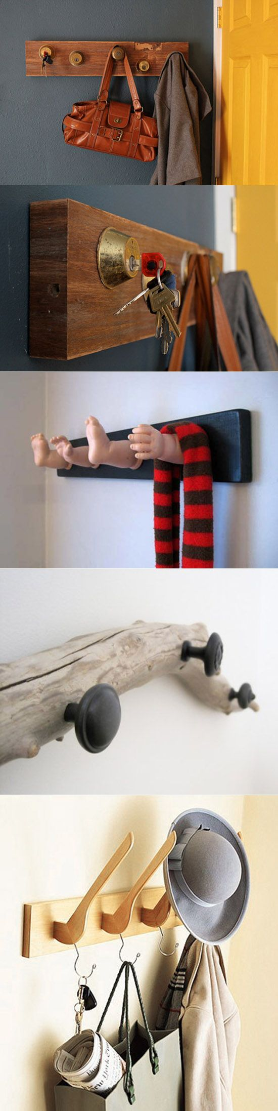 These are super rad! Minus the doll hands and feet one, that's just creepy. DIY hangers
