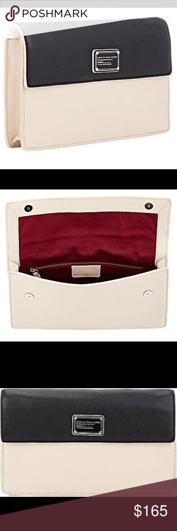 """Marc by Marc Jacobs multi color clutch bag MARC BY MARC JACOBS Nifty Gifty Jemma Clutch. New with tags. Details Marc by Marc Jacobs black and sand colorblock grained leather Nifty Gifty Jemma clutch.   Signature workwear plaque at flap front, slip pocket at back, polished silvertone hardware Lined with burgundy fabric; zip pocket at interior Dual magnetic-snap closure 6.25"""" height x 11.25"""" width x 1.50"""" depth (approximately) Imported Marc by Marc Jacobs Bags Clutches & Wristlets"""