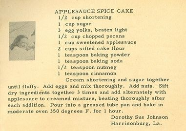 Roots From The Bayou: Family Recipe Friday ~ Applesauce Spice Cake