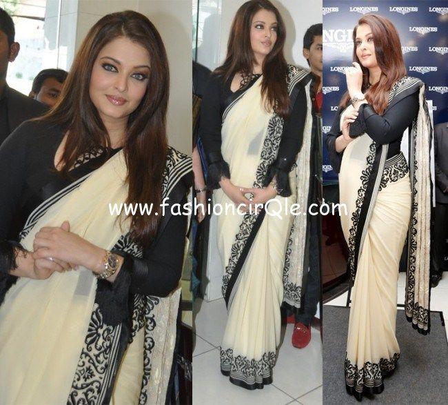 aishwarya_rai_launches_longines_showroom black and white saree