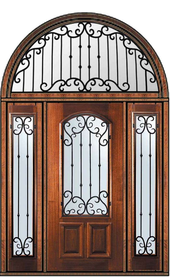 Entry doors with rectangular transoms 6 8 quot prehung -  6 356 Prehung Sidelights Transom Door 80 Wood Mahogany Valencia Arch Lite