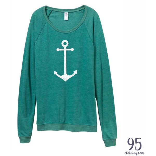 Anchor Shirt Get Nautical With This Slouchy Pullover Women's Clothing. ($30) ❤ liked on Polyvore featuring tops, navy, pullovers, sweaters, women's clothing, slouchy shirt, navy blue tops, slouchy tops, slouch shirt and anchor blue shirts