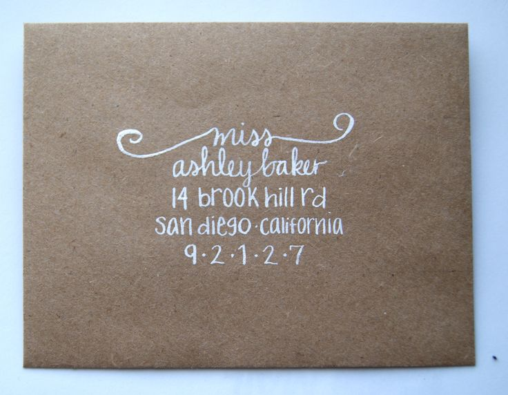 """Thought you'd like the kraft paper envelope with white calligraphy!  Calligraphy Envelope Addressing in """"Ashley"""" style. $1.75, via Etsy."""