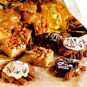 Nut candies with swirled chocolate topping.