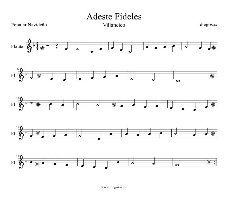 Sheet Music For Imperial March On Piano: Adeste+Fideles+Flauta-1.png (1600×1417) Muy Facil Para