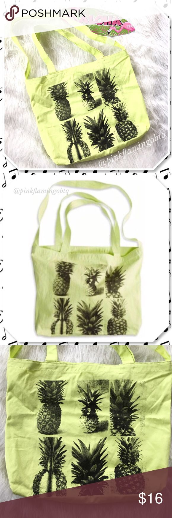 NWT 🍍Pineapple Canvas Tote Bag🍍 Yellow canvas tote bag with pineapple print. Has 3 handles so you can use it two different ways. Long strap, 2 shorter straps and an inner pocket for smaller items. Tag fell off but the plastic tag holder is still attached. American Eagle Outfitters Bags Totes