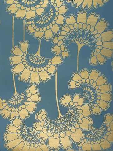 Florence Broadhurst 'Japanese Floral' COO7 Wall Paper in Blue and Gold 10m