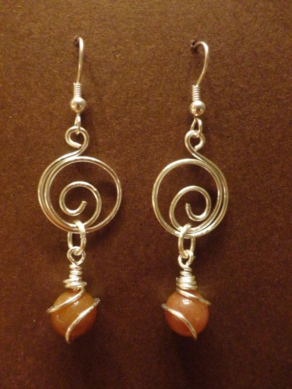 spiral wire earrings w/bead dangles