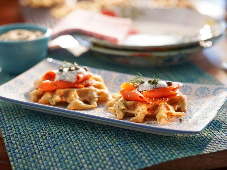 """Everything"" Savory Potato Waffles with Smoked Salmon recipe from Valerie Bertinelli via Food Network"