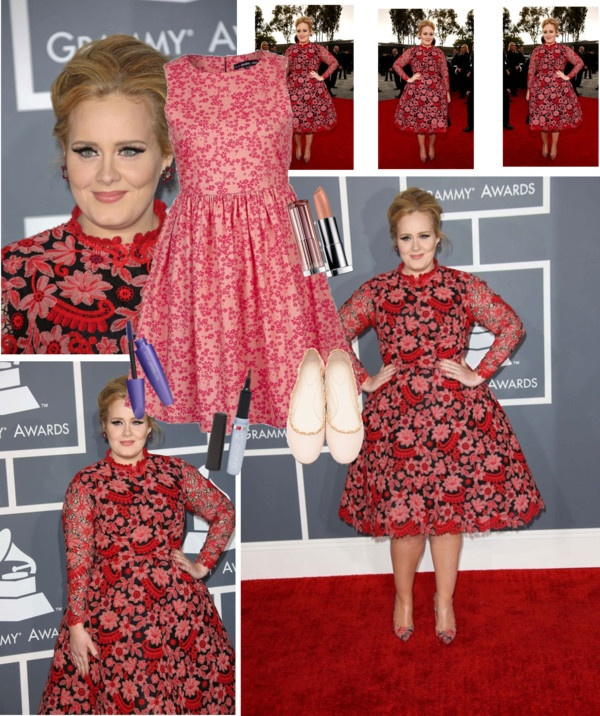 """""""Adele Grammys Inspired Look - Daily Look"""" by red-bipolarity on Polyvore"""