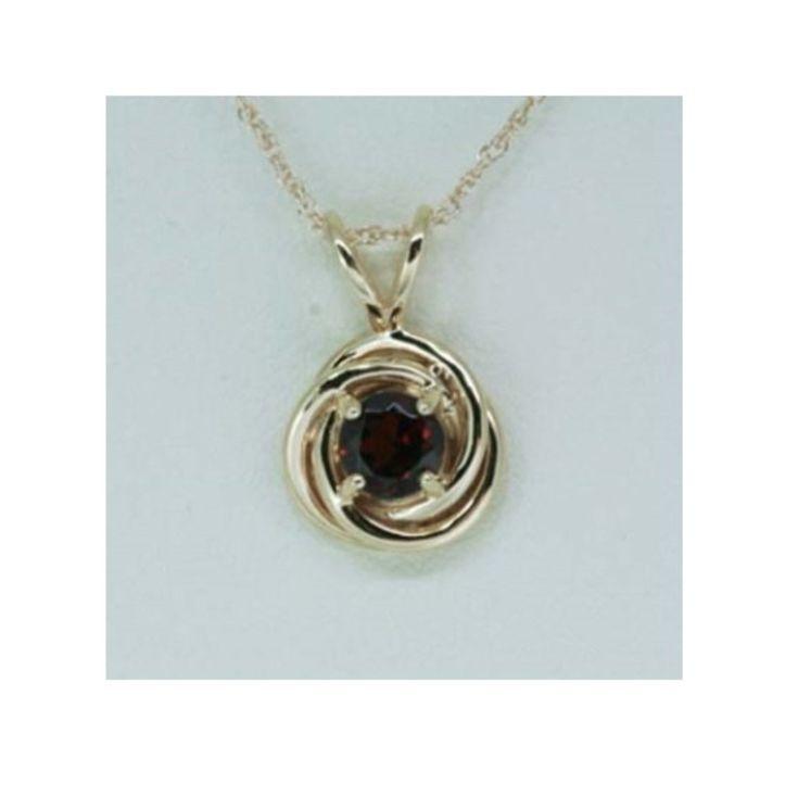 9k Garnet Round Pendant, Birthstone Jewelery, Anniversary Garnet Pendant, Gold Garnet Necklace by LenaMayJewelley on Etsy