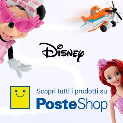 Se volete fare un regalo ai vostri bambini, su PosteShop trovate una vasta offerta di articoli firmati Disney. Cliccate sull'immagine e date uno sguardo allo store del sito di e-commerce di Poste Italiane.