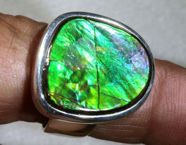 RING SIZE 7  BRIGHT AMMOLITE SILVER RING SG-2419  NATURAL AMMONITE GEMSTONE RING   FROM GEMROCKAUCTIONS.COM