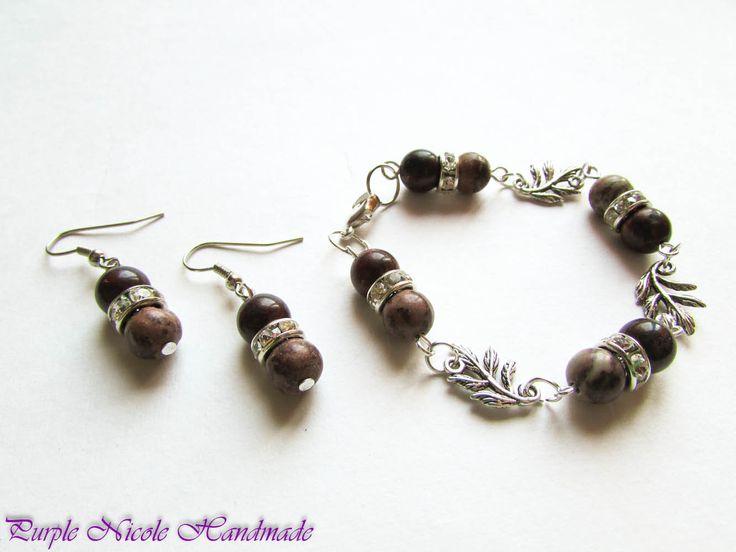 Shining Jasper - Handmade Jewelry Set: bracelet and earrings, by Purple Nicole Handmade (Nicole Cea Mov). Materials: metallic accessories, jasper spheres, shinny transparent rhinestones.