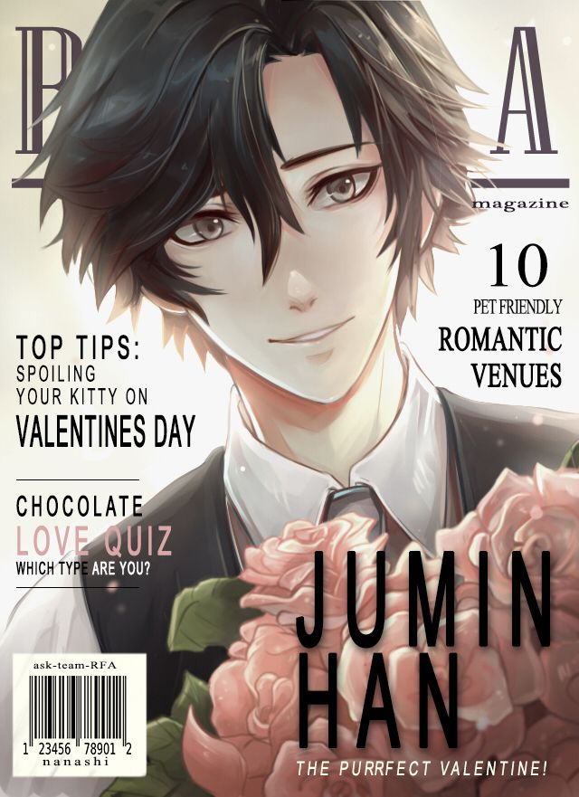 """ask-team-rfa: """"The winner of the Valentine magazine cover contest- Jumin Han! Thank you to those who voted for their fav members~ It was a close call, and so because of that there may even be a runner up cover, so do stay tuned! """""""