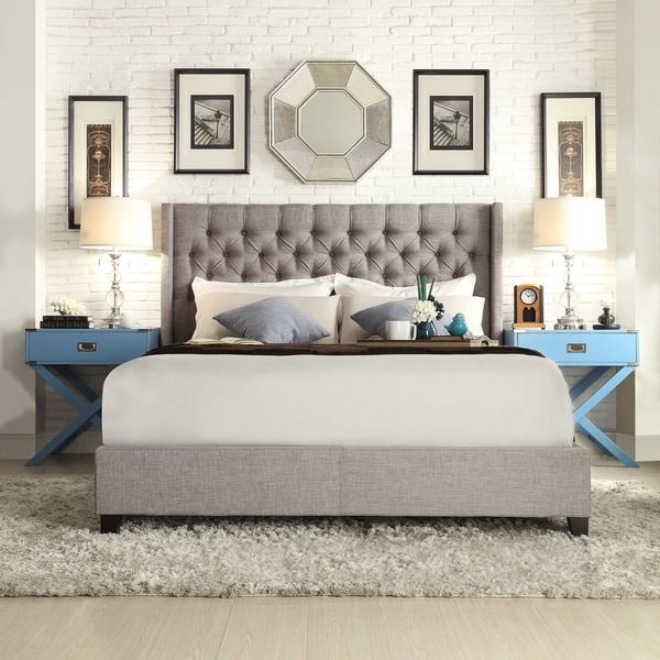 Surround yourself in plush comfort with this richly-made Naples dark grey linen bed by SIGNAL HILLS. The button-tufted, wingback headboard ensures softness from head to toe. Matching upholstered rails