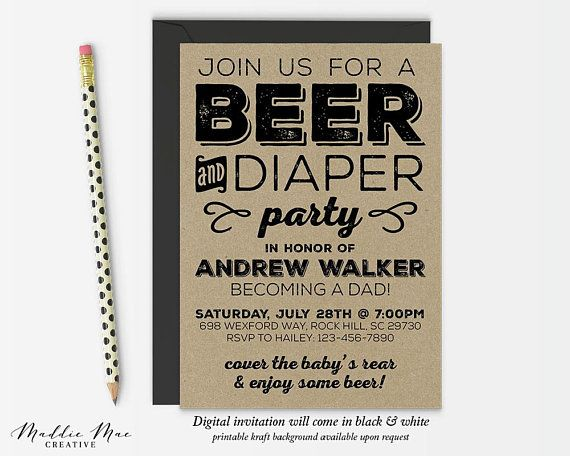 Beer And Diaper Party Invitation Dad Baby Shower Invite Guys Baby