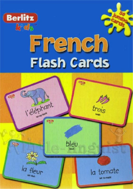 Teach your child basic french words with this fun, proven learning activity.  large, durable, easy-to-handle cards delightful, engaging illustrations of everyday words simple pronounciation on each card makes learning easy and fun buid vocabulary, word recognition, memory and confidence Included 50 jumbo cards.