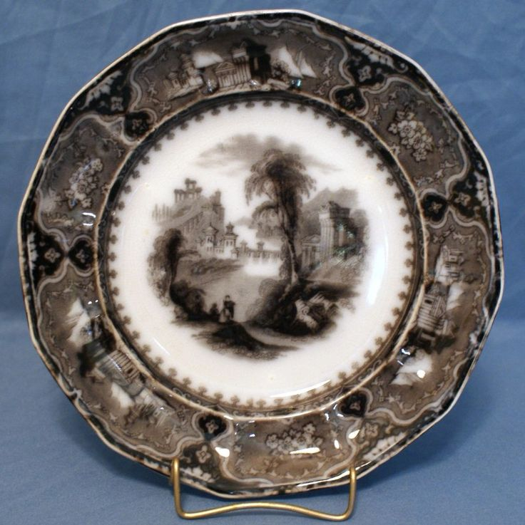 """Flow Mulberry Ironstone 8"""" 12-Panel Plate, Alcock in Vincennes Pattern 1857 