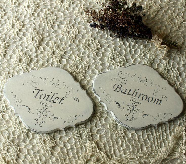 """Купить Таблички для ванной и туалета """"French vintage"""" - чёрно-белый, таблички на дверь, таблички для ванной"""