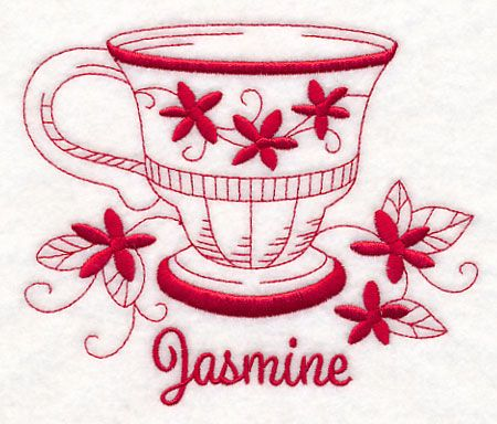 Tea Time Jasmine (Redwork) design (M11708) from www.Emblibrary.com