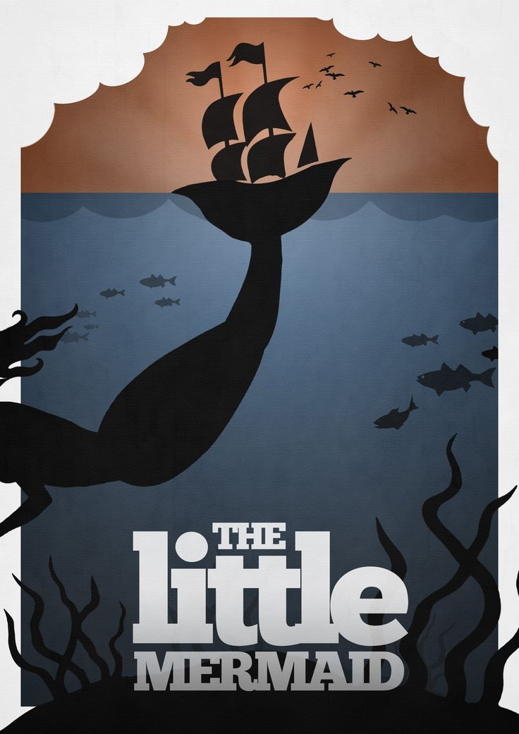 LITTLE MERMAID Alterna-Disney Movie Posters by Rowan Stocks-Moore    Rowan is a technical wizard when it comes to redesigning classic covers to books and films, cutting deep to the core of the film in one simplified image. But his revamped images reflect the darkness inherent in the stories that was glossed over with bright colors and happy little people.