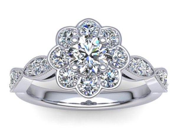 R121 Bridgette Floral Diamond Engagement Ring