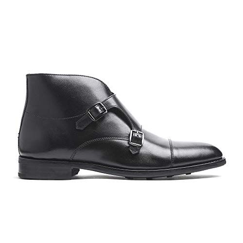 356edf88a1c Timberlux New York Mens Double Monk Strap Boots, Black Dress Shoes ...