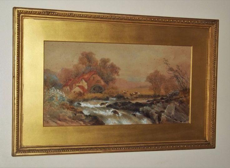 Original J.Gilchrist Watercolour  The Almond At Buchanty  Scotland. Late 19th c